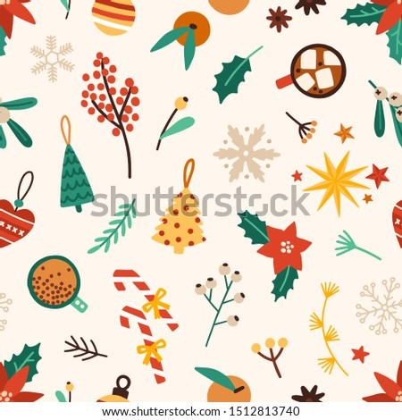 Christmas accessories flat vector seamless pattern. Winter season holiday symbols texture. Traditional xmas attributes decorative backdrop. Christmas tree toys, flora and food illustration.