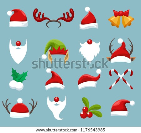 Stock Photo Christmas accessories. Santa and elf face wearing, reindeer and snowman clothes for winter funny photos, vector illustration