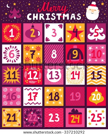 Christmas Advent Calendar. Bright Holiday Countdown In ...