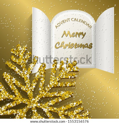 Christmas advent calendar doors open, big golden snowflake and golden letters on a golden background. Vector illustration