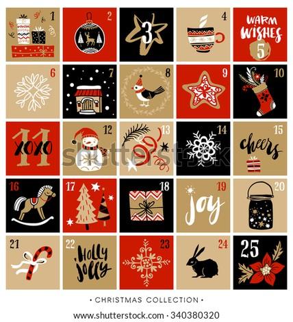 Christmas advent calendar. Hand drawn design elements and calligraphy. Handwritten modern brush lettering.