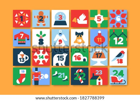 Christmas advent calendar illustration set. Flat cartoon icons with festive xmas season decoration in modern geometric style and December day countdown number.