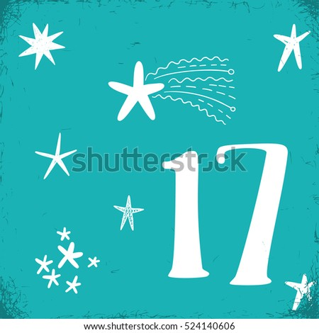 Christmas advent calendar set. Printable card.