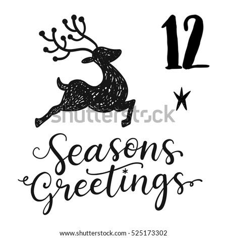 Christmas advent calendar set. Printable card