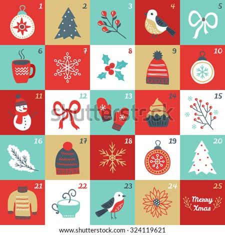 Christmas Advent Calendar with bird, branches, Christmas balls, bow, cup of tea, woolen hat, mittens, cupcake, fir branch, sweater, poinsettia, fir tree, snowman, flower and snowflakes