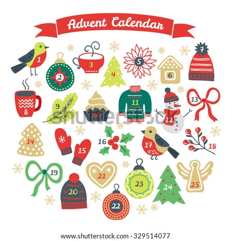 Christmas Advent Calendar With Bullfinch, Ball, Cup Of Hot ...