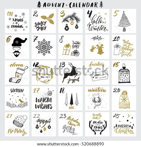 Christmas advent calendar with hand drawn design elements and handwritten modern brush pen calligraphy. Vector printables set. White, black, golden colors.