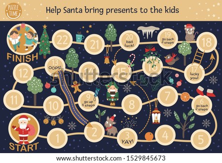Christmas adventure board game for children. Educational winter holiday boardgame. Puzzle with Santa Claus, deer, Nutcracker, birds, trees, snowflakes. Help Santa bring presents to the children