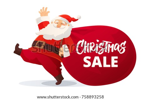 Awesome Christmas Advertising Design. Funny Cartoon Santa Claus With Huge Red Bag  With Presents. Christmas. New Year Car.