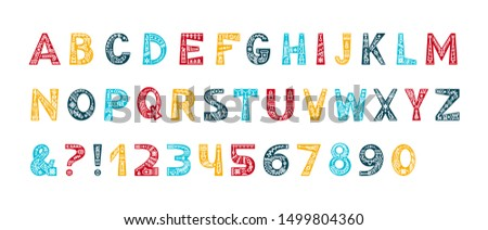 Christmas alphabet vector color typeset. Uppercase letters with winter season decorative linear ornaments. Numbers and symbols with xmas holiday doodles set. New Year celebration creative font