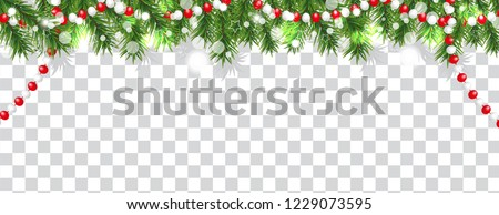 Christmas and happy New Year border of Christmas tree branches and beads on transparent background. Holidays decoration. Vector illustration. #1229073595