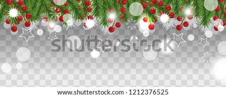 Christmas and happy New Year border of Christmas tree branches with holly berry on transparent background. Holidays decoration. Vector illustration. #1212376525