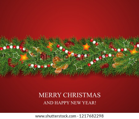 Christmas and happy New Year garland and border of realistic looking Christmas tree branches decorated with Berries, stars and Gingerbread cookies, beads. Vector illustration.