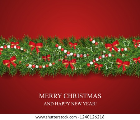 Christmas and happy New Year garland and border of realistic looking Christmas tree branches decorated with red bows, white stars and beads. Horizontal vector illustration. #1240126216