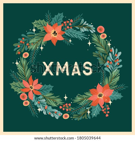 Christmas and Happy New Year illustration with Christmas wreath. Trendy retro style. Vector design template. Сток-фото ©