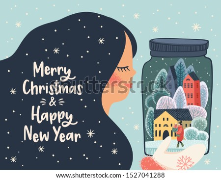 Christmas and Happy New Year illustration with cute woman. Trendy retro style. Vector design template.