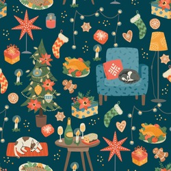 Christmas and Happy New Year seamless pattern. Sweet home. Trendy retro style. Vector design template.
