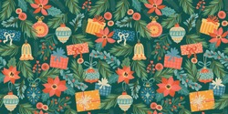 Christmas and Happy New Year seamless pattern with Christmas toys and gifts. Trendy retro style. Vector design template.