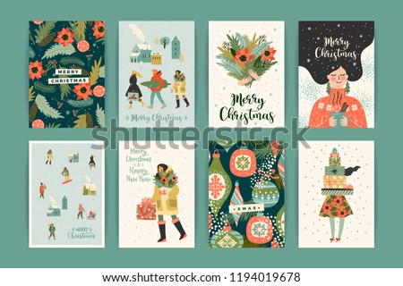 Christmas and Happy New Year templates. Trendy retro style. Vector design element. #1194019678
