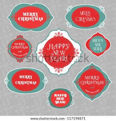 Christmas and New Year - stock vector