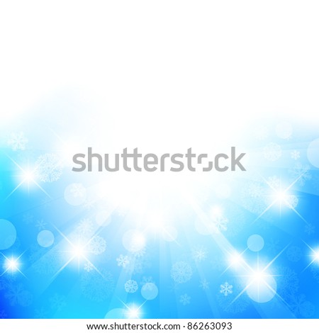 Christmas and New Year abstract background with stars and snowflakes, copyspace