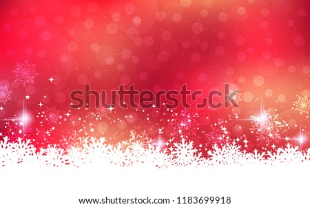 Christmas and New Year abstract vector background with stars, snowflakes and bokeh effect