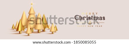Christmas and New Year background. Abstract design metallic 3d conical Christmas tree. Horizontal header for the site. Xmas objects. Bright Winter holiday composition. Greeting card, banner, poster