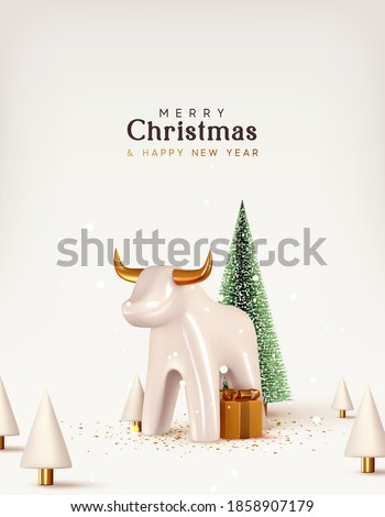 Christmas and New Year background. Porcelain white bull symbol of 2021. Xmas pine fir lush tree. Conical Abstract Christmas Trees. Bright Winter holiday composition. Greeting card, banner, poster.