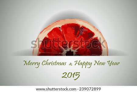 Christmas and New Year background. Three Piece of citrus.