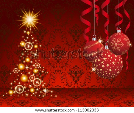 Christmas and New Year background. Vector illustration. EPS 10 with transparency.