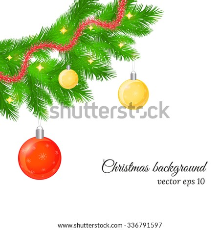 Christmas and New Year background with fir tree twigs, glossy balls, trumpery. #336791597