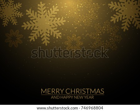 Christmas and new year background with gold snowflakes. Vector illustration. #746968804