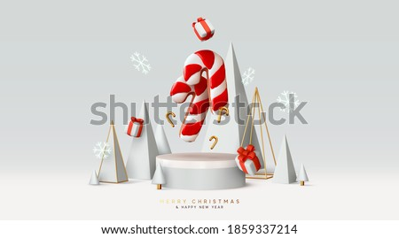 Christmas and New Year background. Xmas pine fir tree Abstract conical geometric. Red Candy cane from cookies, gifts box. Bright Winter holiday composition. Realistic 3d round stage, podium, studio.