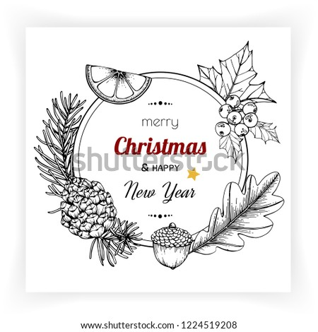 Christmas and New Year backgrounds and greeting card. with flower and leaf hand drawn illustration. #1224519208
