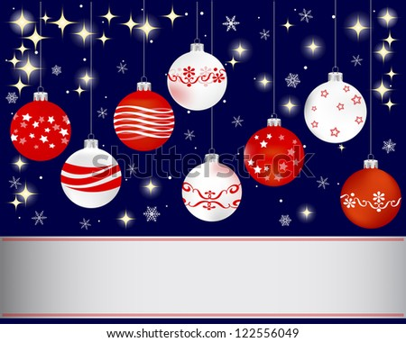 Christmas and new year banner with Christmas ball and snowflakes. Vector illustration.