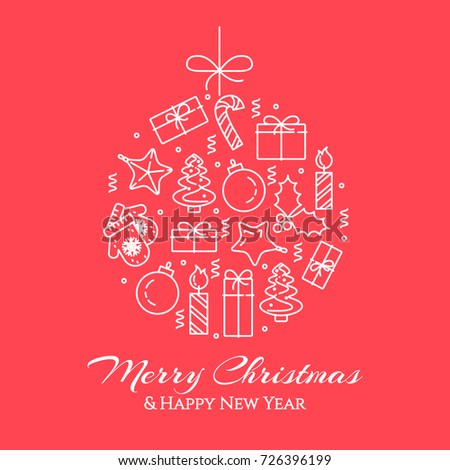 Christmas and New Year banner with outline holiday related elements collected in form of christmas decoration ball and greeting sign. Isolated vector illustration in line art style.