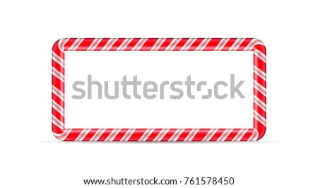 Christmas and New Year candy cane frame.