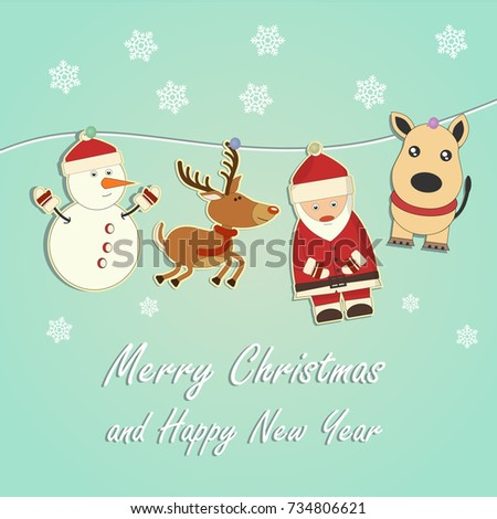Shutterstock Christmas and New Year card. Santa Claus, snowman. New 2018 year of the dog on the eastern calendar.