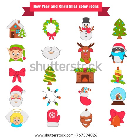 Christmas and New Year color icons set