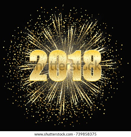 Christmas and new year dark background, fireworks with gold particles and figures 2018