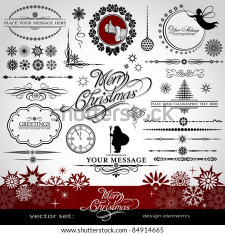 Christmas and New Year decorative vector set silhouettes of Santa Claus and fairy calligraphic elements vintage and retro ornaments banners text dividers with snowflakes and stars for design