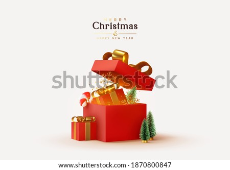 Christmas and New Year design. Realistic red gifts boxes. Open gift box full of decorative festive object. Holiday banner, web poster, flyer, stylish brochure, greeting card, cover. Xmas background