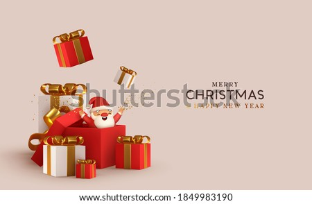 Christmas and New Year design. Realistic white and red gifts boxes. Open gift box. surprise funny santa claus. Holiday banner, poster, flyer, stylish brochure, greeting card, cover. Xmas background