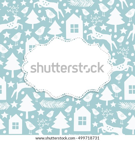 Christmas and New Year frame with Winter seamless 