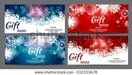 Christmas and New Year Gift Voucher, Discount Coupon Template Collection Set Vector Illustration