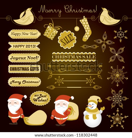 Christmas and New Year - Golden Vector Set
