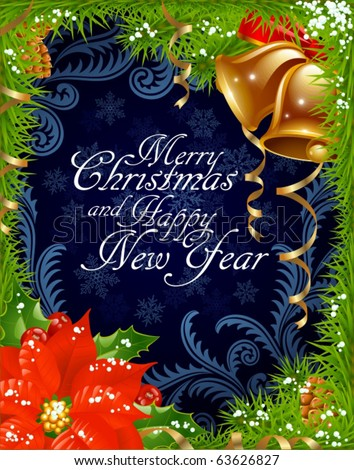 Year  Download Free on Christmas And New Year Greeting Card 4 Stock Vector 63626827