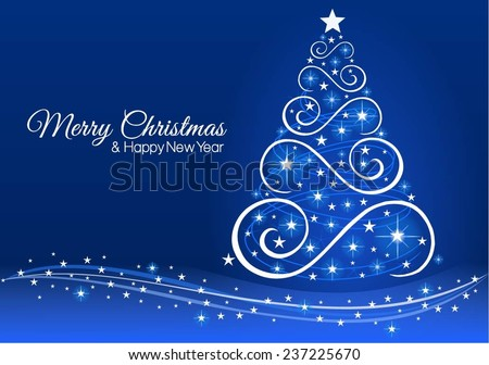 christmas and new year greeting card in blue