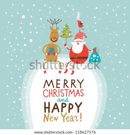Christmas and New Year Greeting card, Santa Claus with gifts bag and Christmas tree and funny Deer