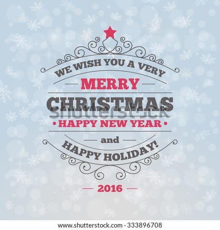 Christmas and New Year Greeting Card. Vector Illustration
